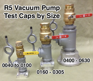 TMS R5 Vacuum Pump Test Caps by Size